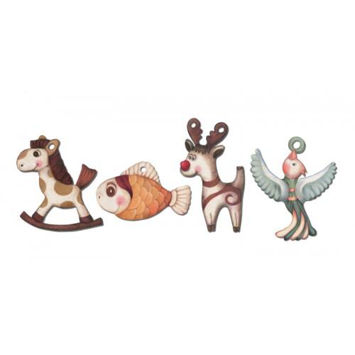 Zwierzaki - zestaw 4 zawieszek